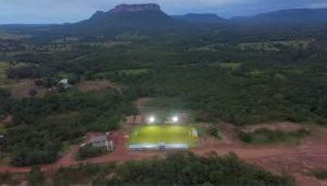 Estadio construido em local estrategico tendo uma belíssima imagem panoramica